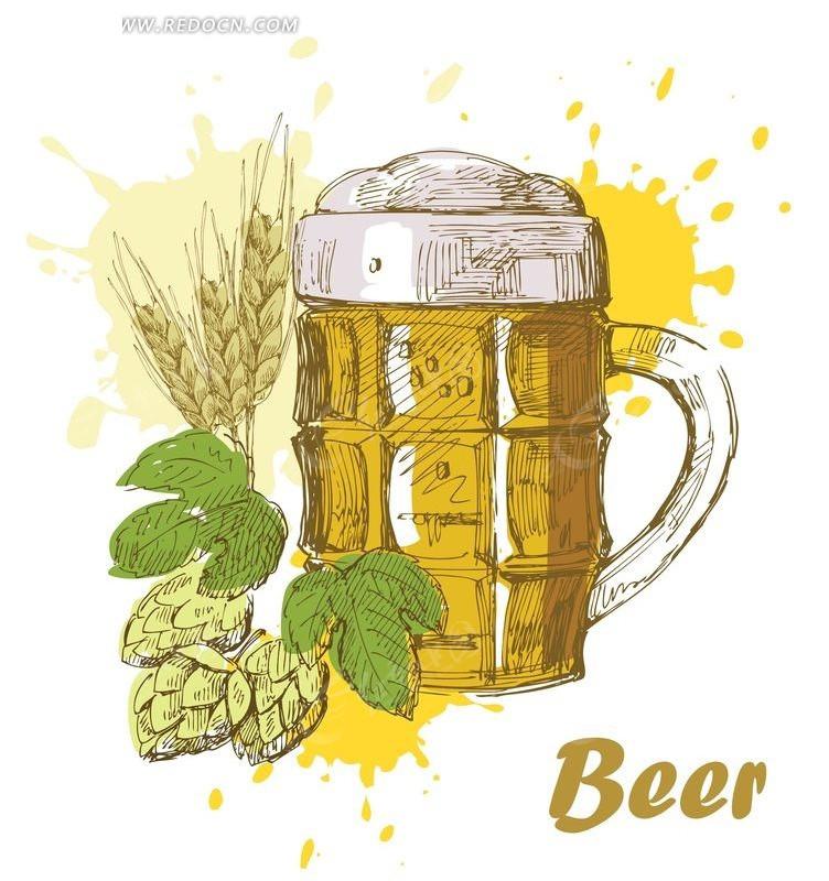 手绘啤酒矢量素材