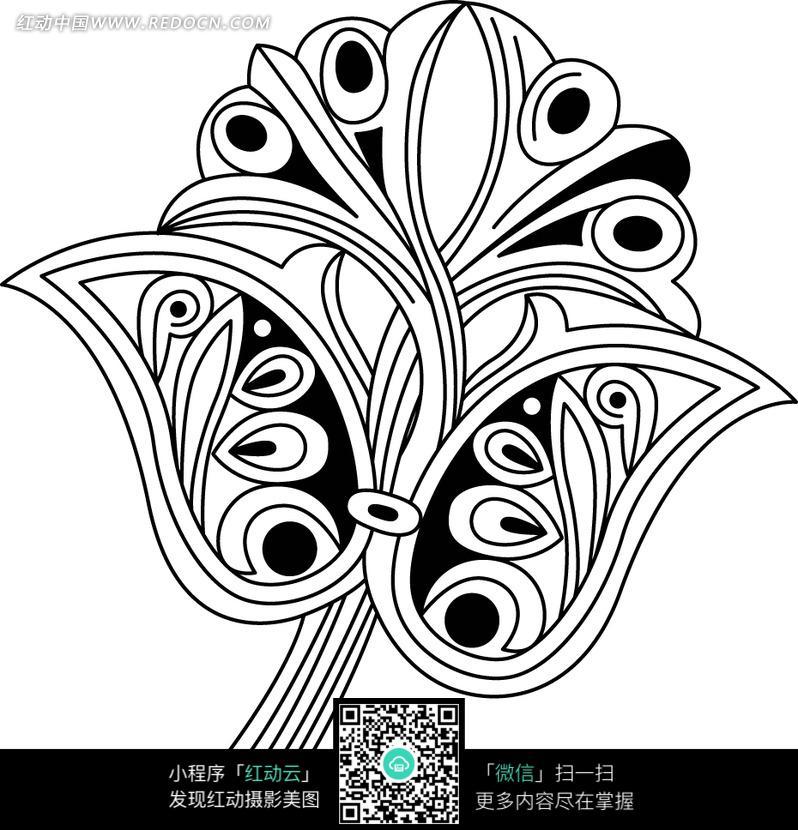手绘黑色创意花纹图形图片
