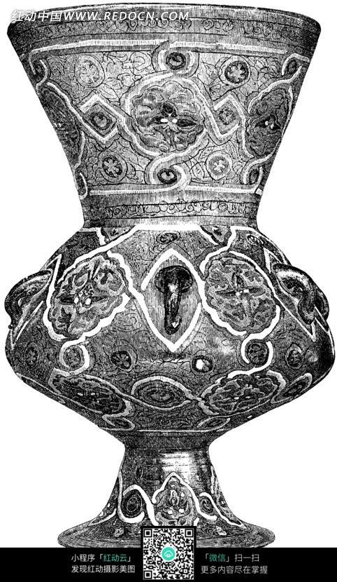 手绘欧式古典花瓶黑白图案图片