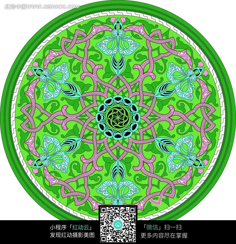 绿色的圆形花纹图案图片