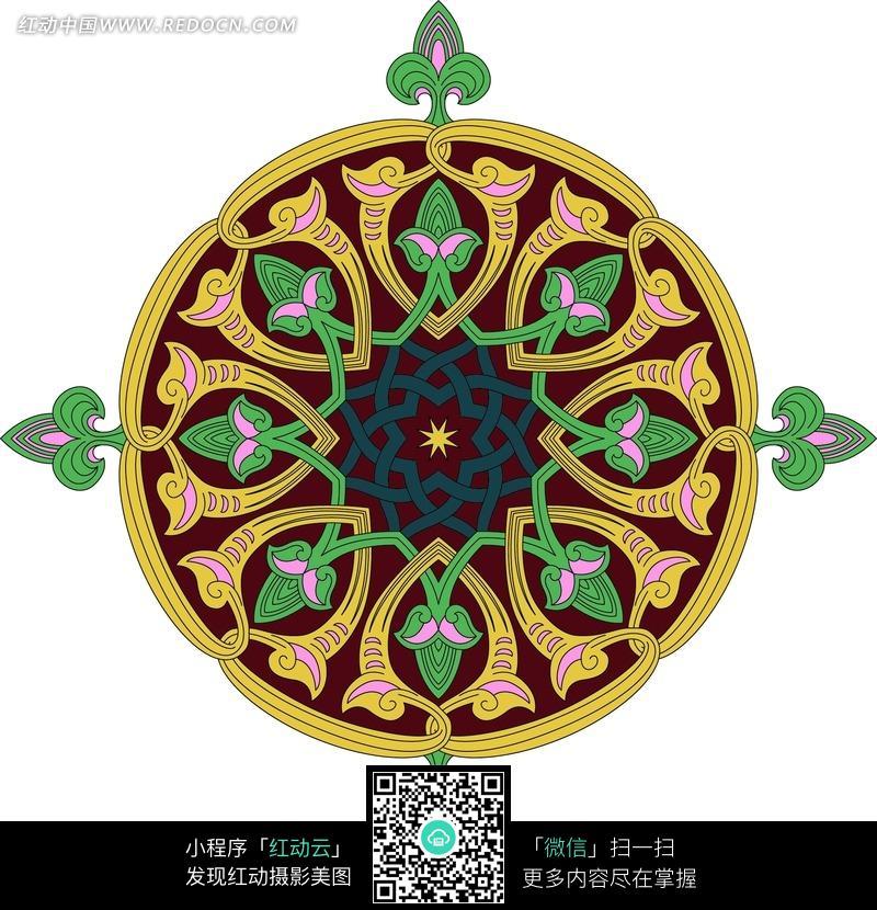 黄色卷草连枝纹和绿色连枝花蕾纹穿绕构成的圆图图片
