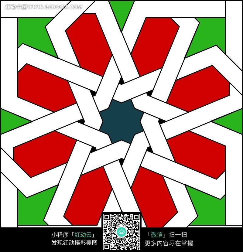 对称穿插形成几何彩色图形图案图片图片