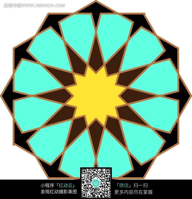 四色不规则几何图形构成的对称图案图片