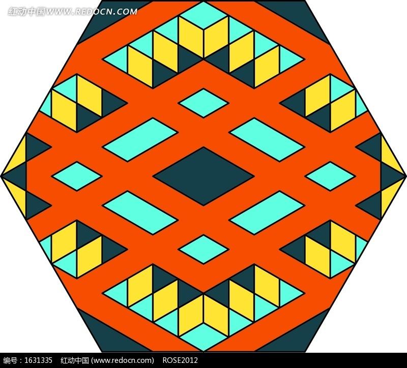 几何形规律组合而成的六边形图案