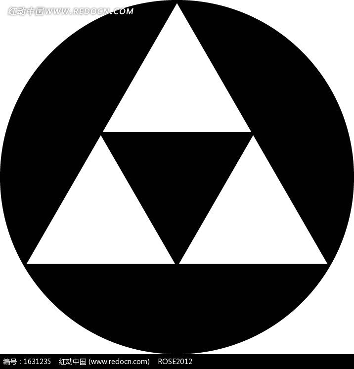 黑色圆形里的三个白色三角形图片