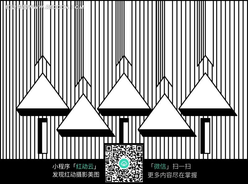 黑白线条背景上的三角形图案图片