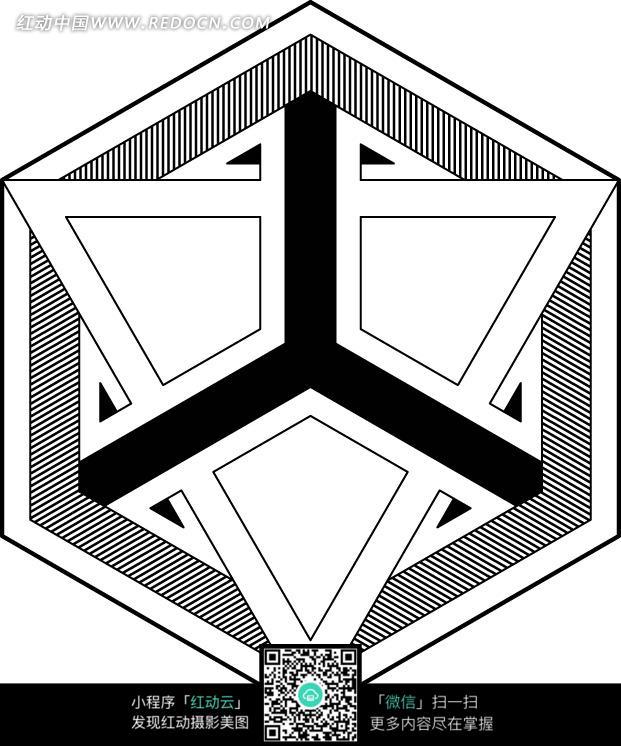 六边形图案里的三角形图案图片_花纹花边图片
