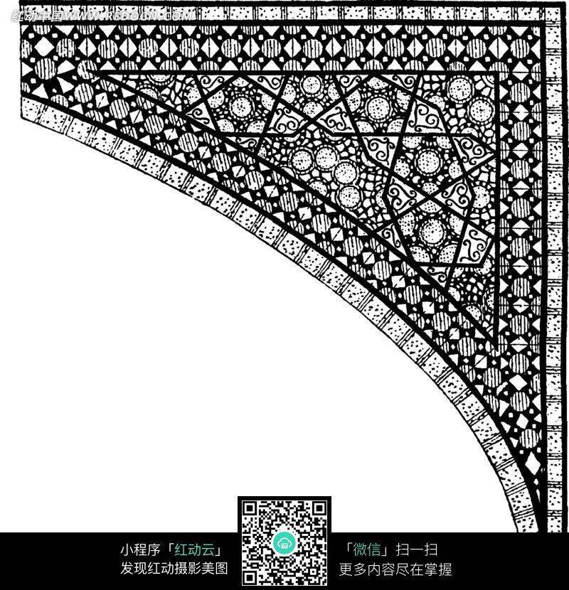 方形圆形半圆三角纹卷曲纹弧线纹构成的角花图