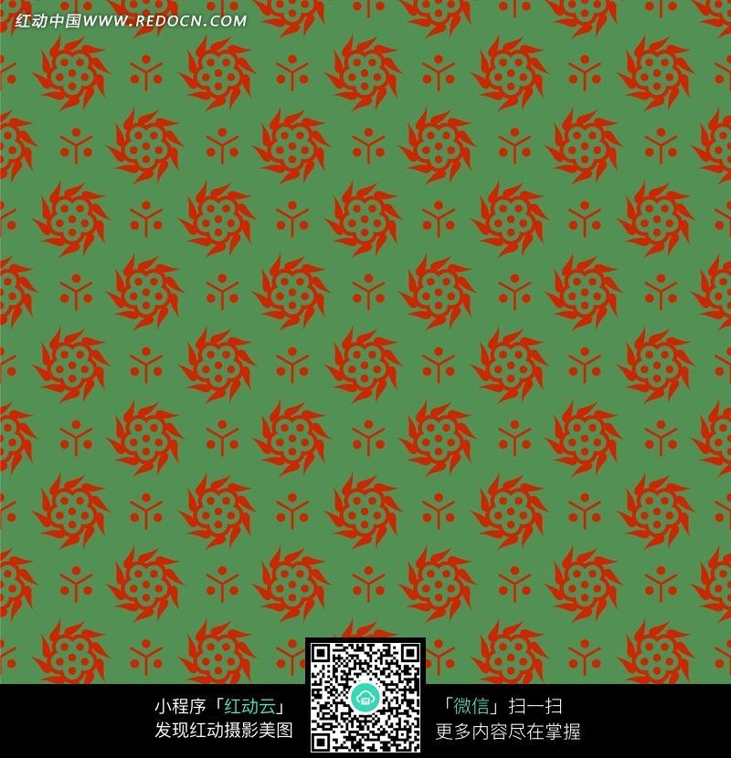 色背景红色花朵四方连续图案图片