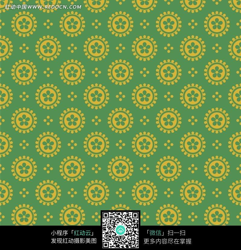 绿色背景黄色花朵四方连续图案