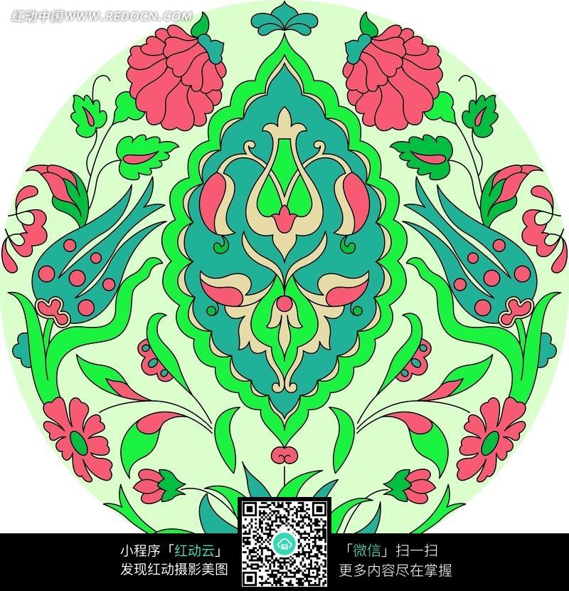 手绘创意彩色植物花卉插画图片