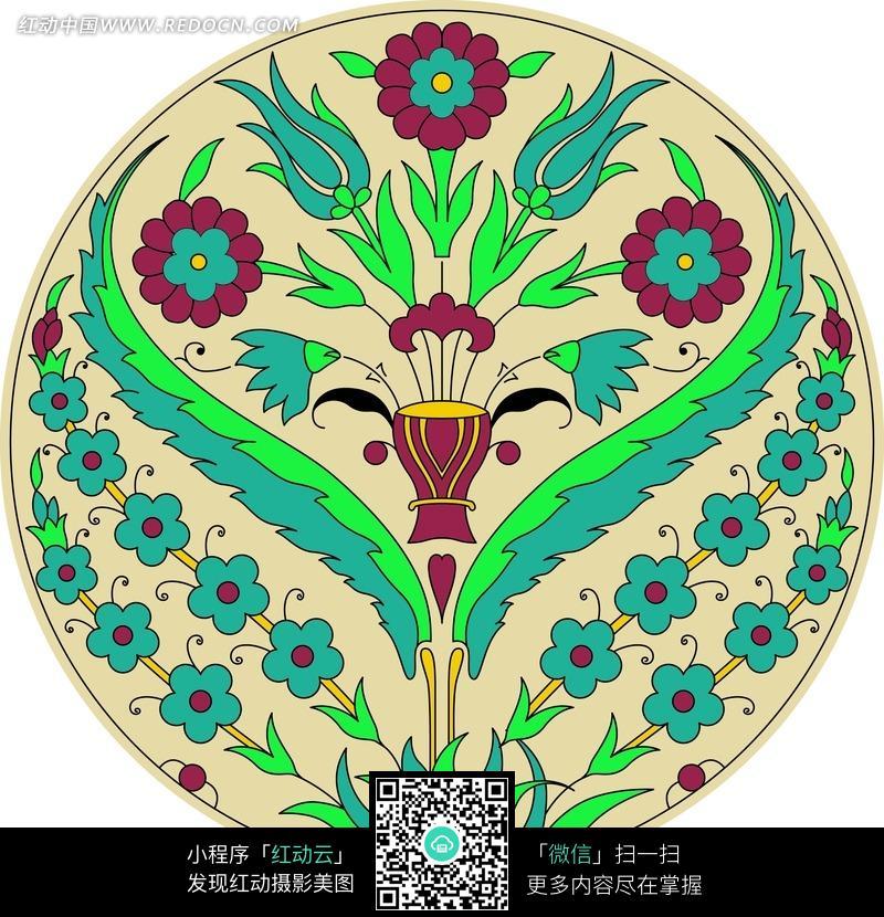 创意圆形花朵叶子植物插画