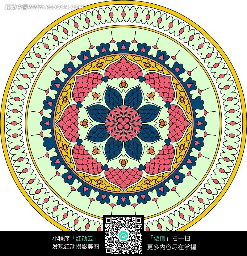 圆形欧式古典荷花纹饰图片图片