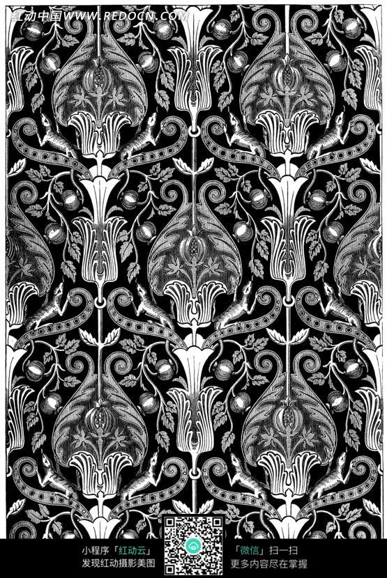 古典花纹墙纸-曲枝卷叶动物花纹图片