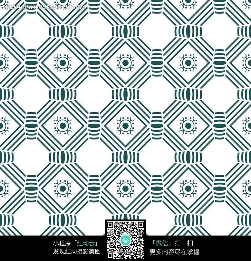 白色背景蓝色线条组成的几何图形花纹图案图片