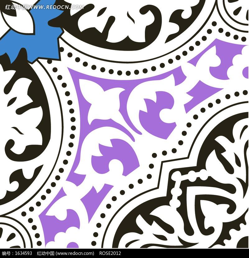 优美的几何形构成的紫色蓝色方形图案图片