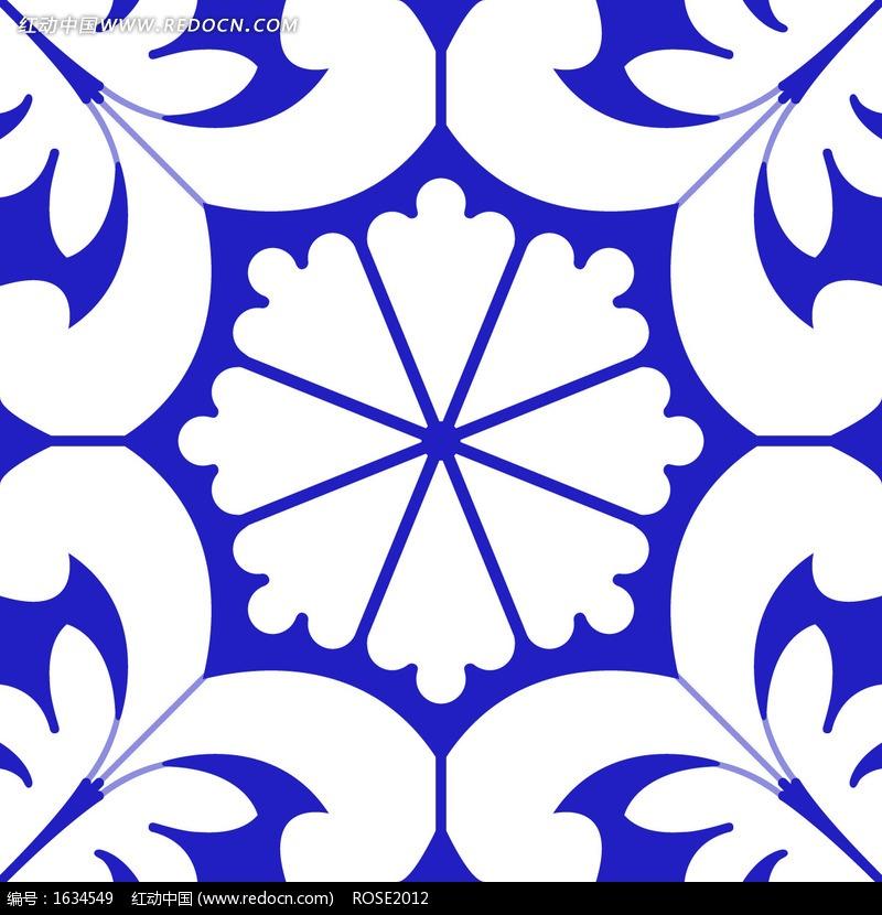 蓝底白花欧式墙纸花纹_底纹背景图片_红动手机版