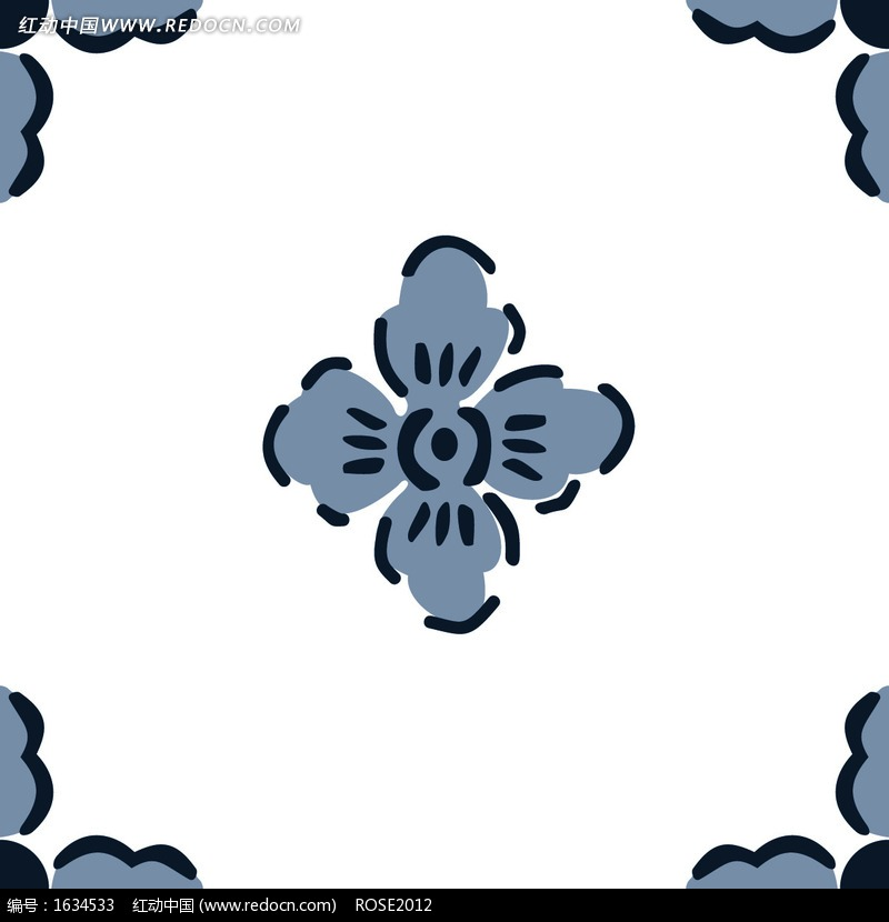 手绘线条十字梅花及花边框图片