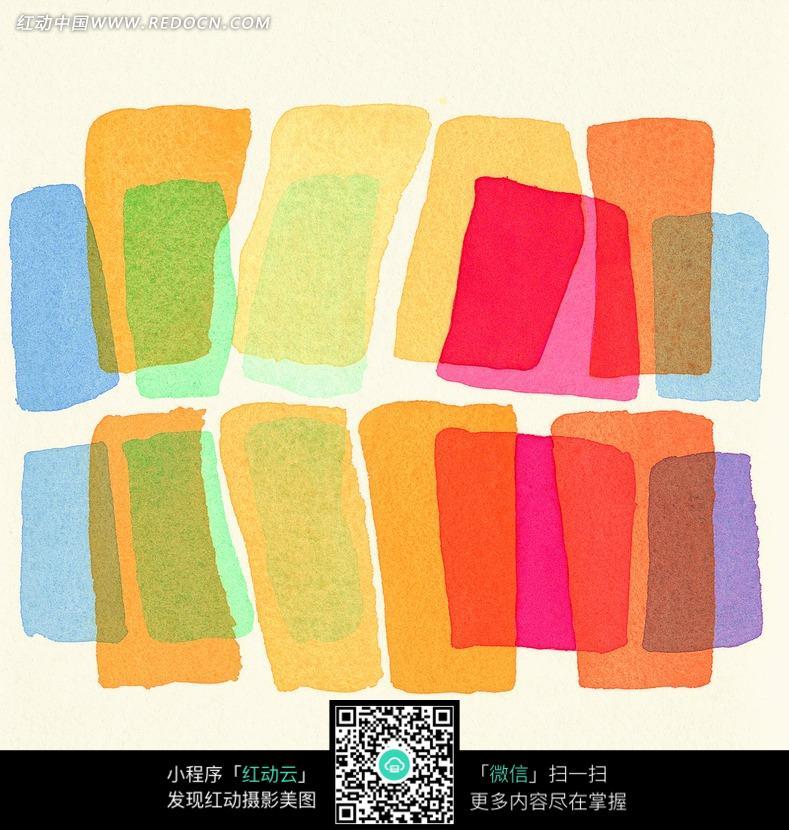 五颜六色的方块毛笔笔触素材