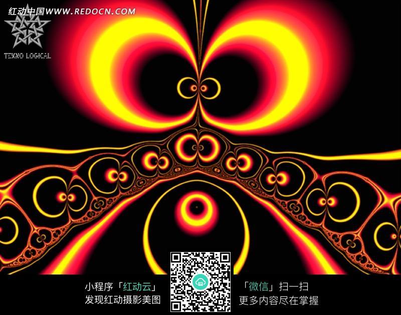 黑底红黄蝴蝶眼对称图案图片