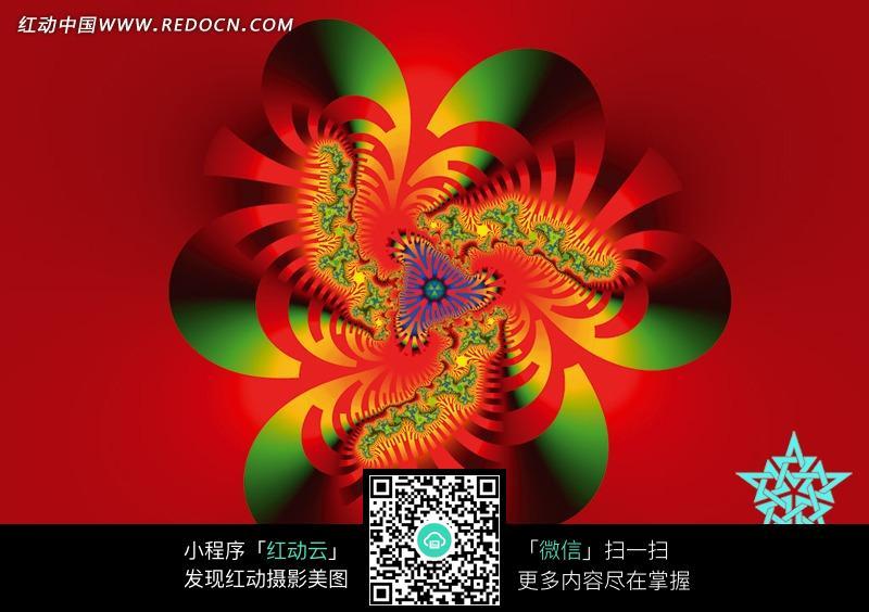 大红底绿红六瓣花朵图案图片