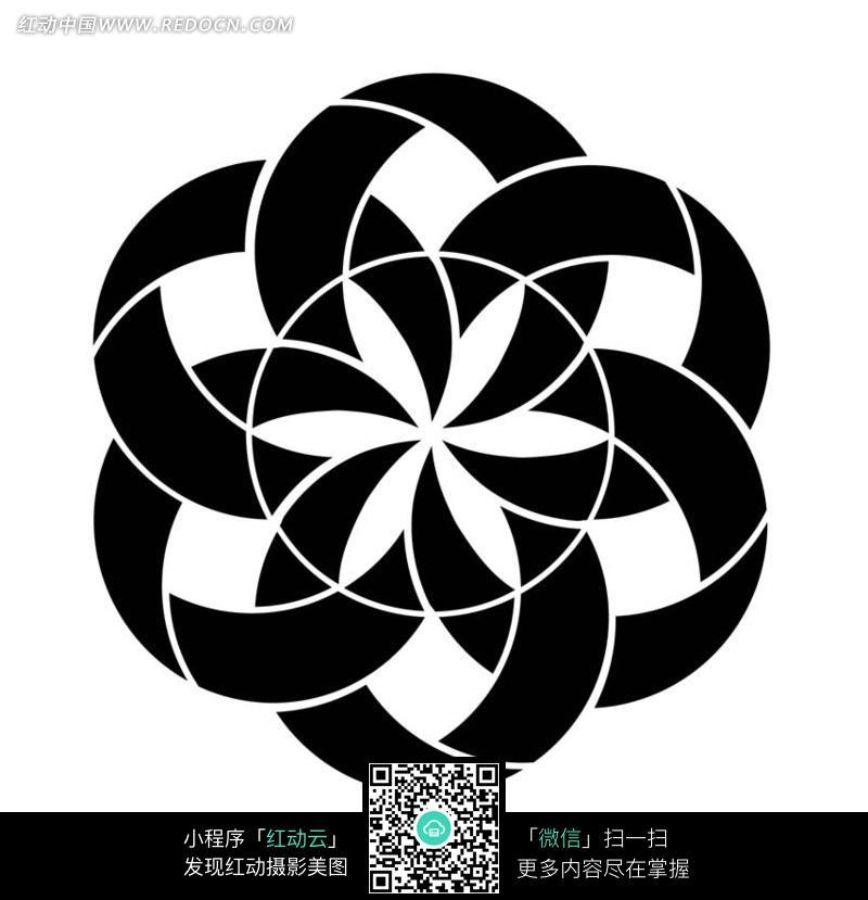 由圆组成的黑白花朵图案图片