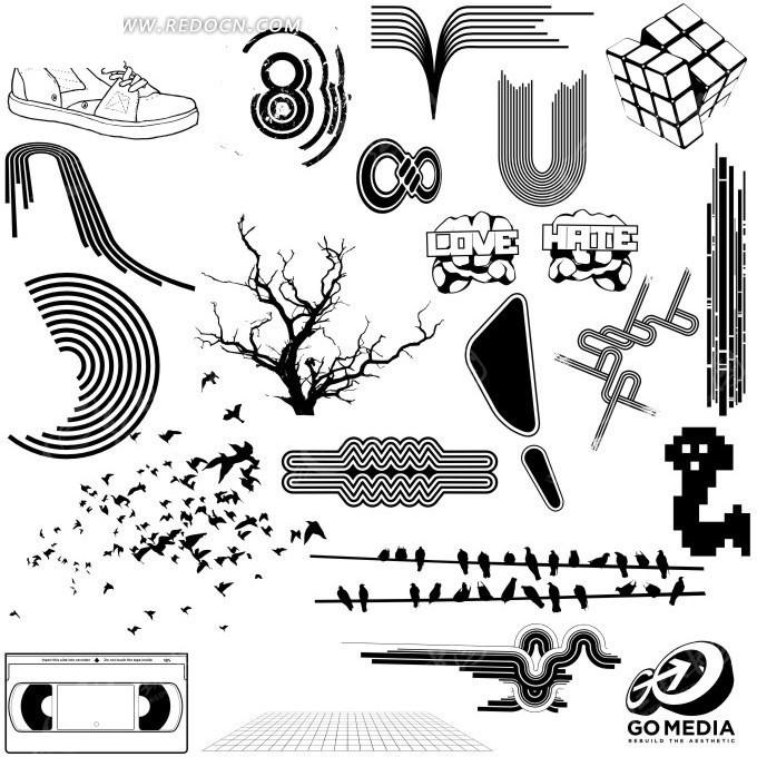 黑白手绘图案集合矢量图_花纹花边