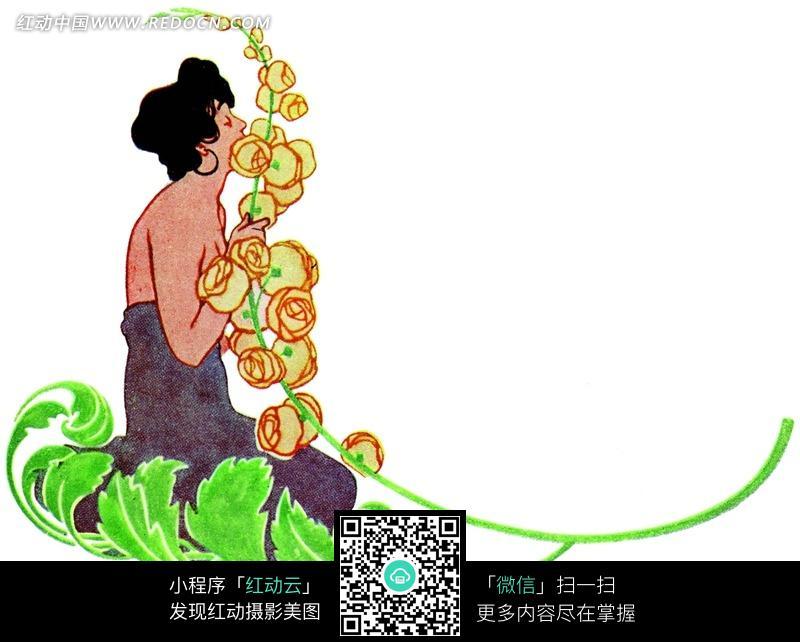 手绘 卷叶 叶蔓 黄玫瑰 古典美女 半裸女子  背景素材 底纹