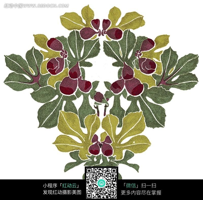 免费素材 图片素材 背景花边 底纹背景 > 手绘各种颜色左右对称的叶子