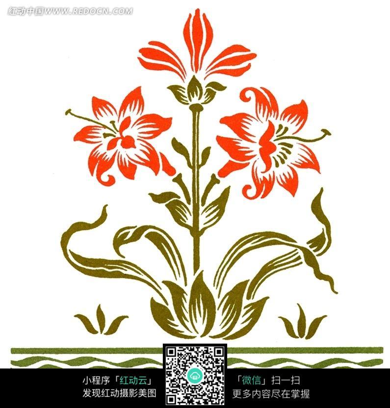 手绘花纹上开花的植物