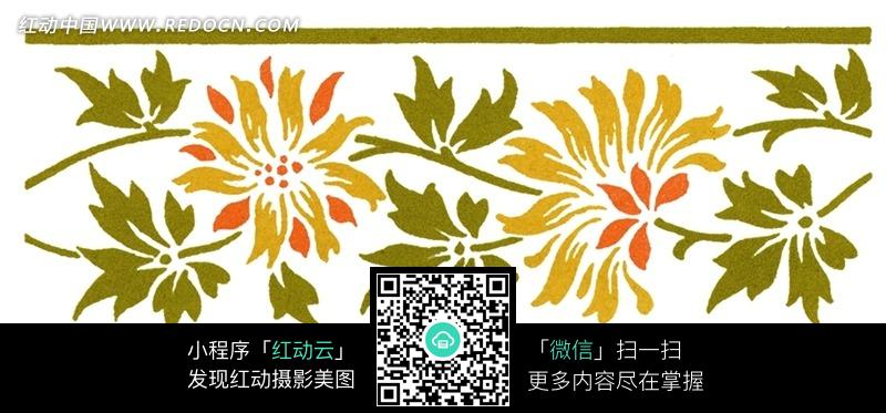 素材下载 图片素材 背景花边 底纹背景 > 手绘绿色横线中间的绿叶和