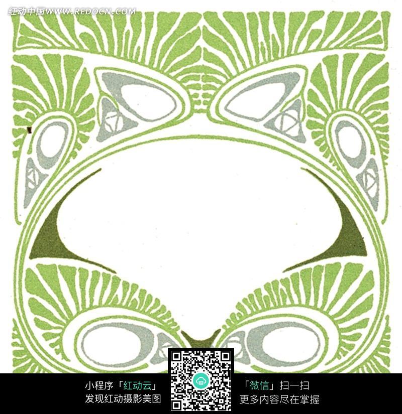 绿弧茎卷曲长叶纹三角椭圆几何线构成的对称图设计图片; art nouveau