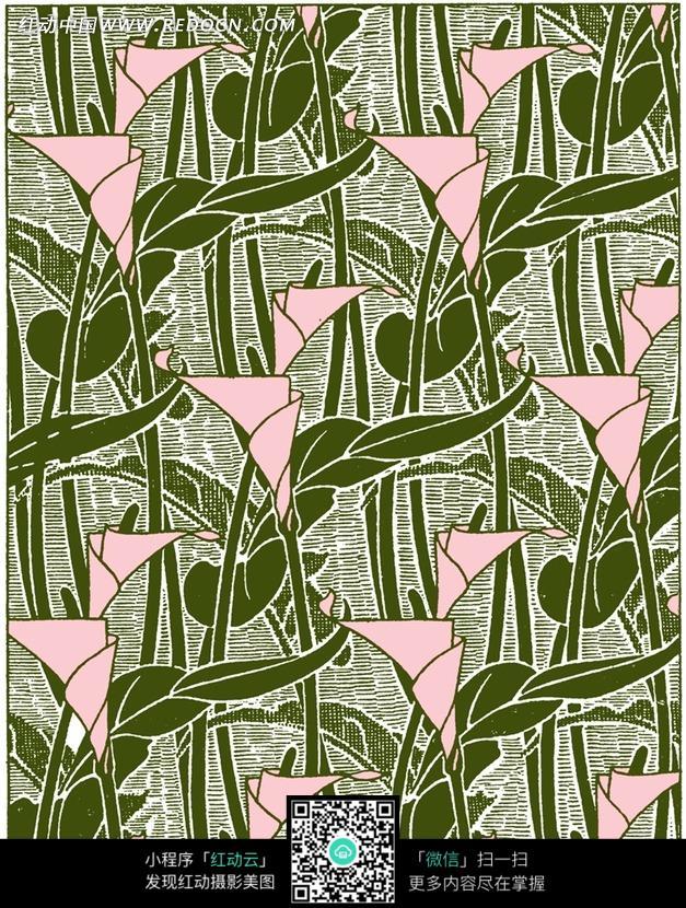 手绘绿色花朵植物插画图形
