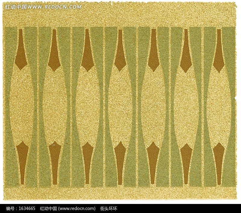 简单几何形构成的黄绿褐连续纹样图片