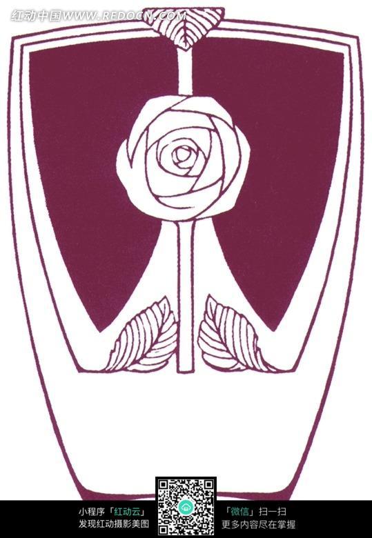 手绘酒红色简单玫瑰与叶蔓图案图片