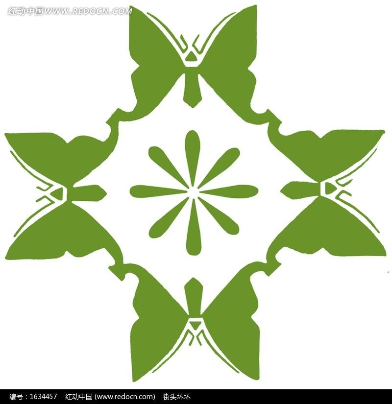 免费素材 图片素材 背景花边 底纹背景 > 手绘环抱的四角蝴蝶花饰图片