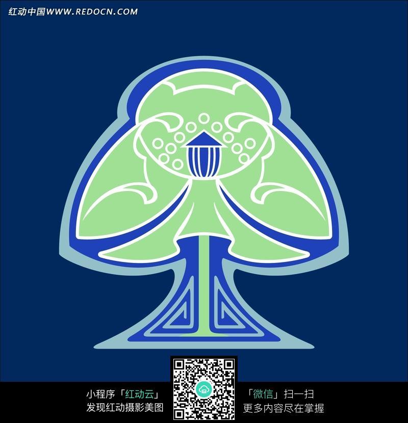 深蓝色背景上绿色树形花纹图片