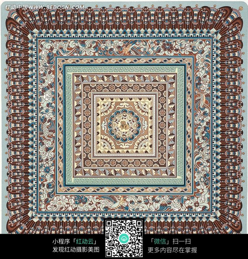 蓝色背景上棕色藏式花纹图片 花纹 花边 线条 背景图库下载 1638487