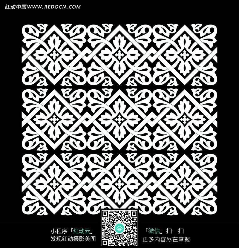 方形花纹四方连续黑白图案