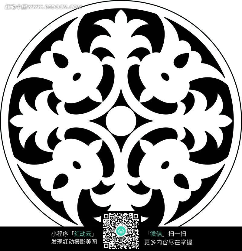 四卷草花和圆形构成的圆形图案