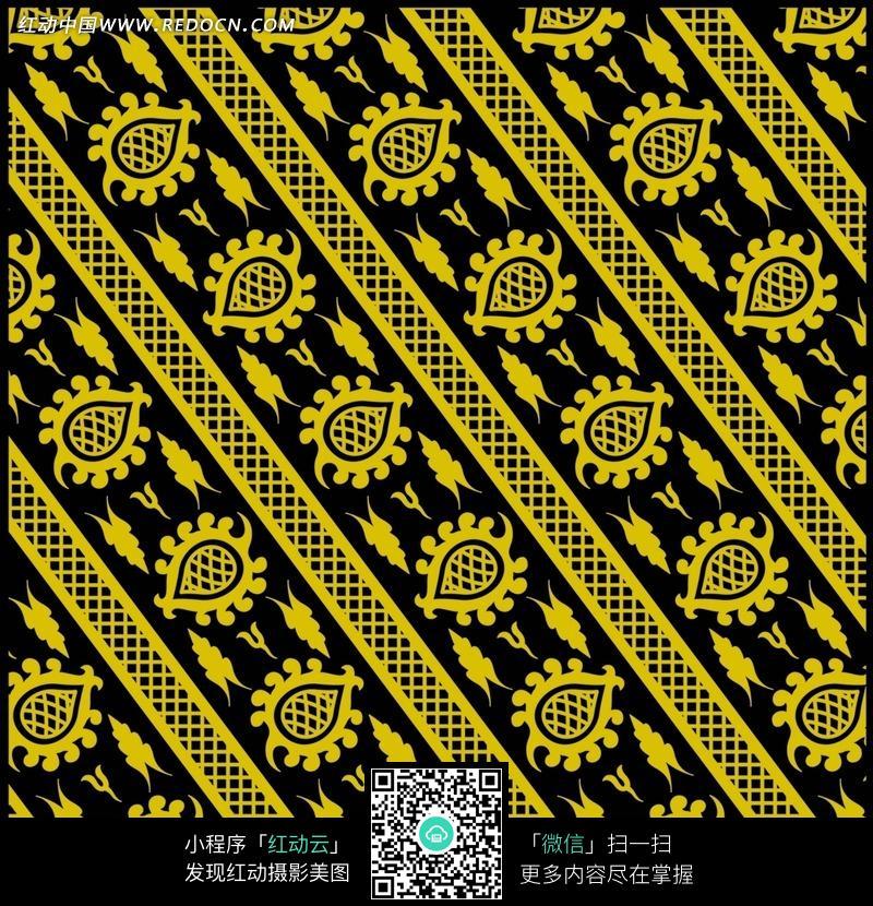 括号状花边-黑色背景上格子花纹和水滴状花纹图片