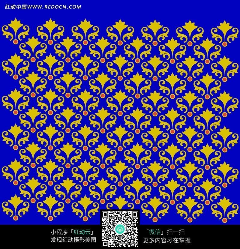 金色花纹 重复花纹 蓝色背景