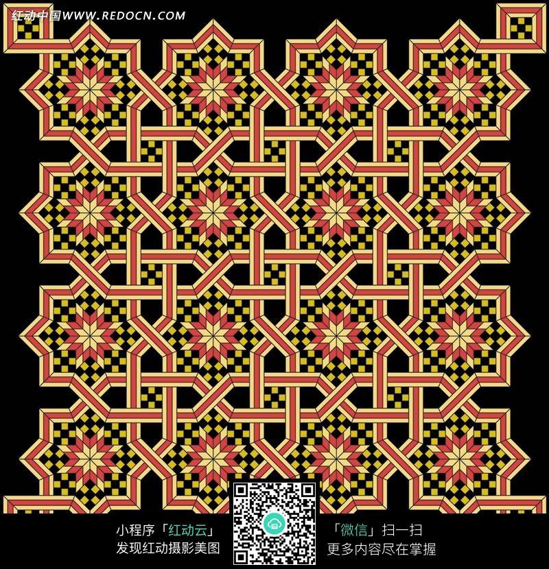 吉祥结的菱形花瓣花纹构的背景图