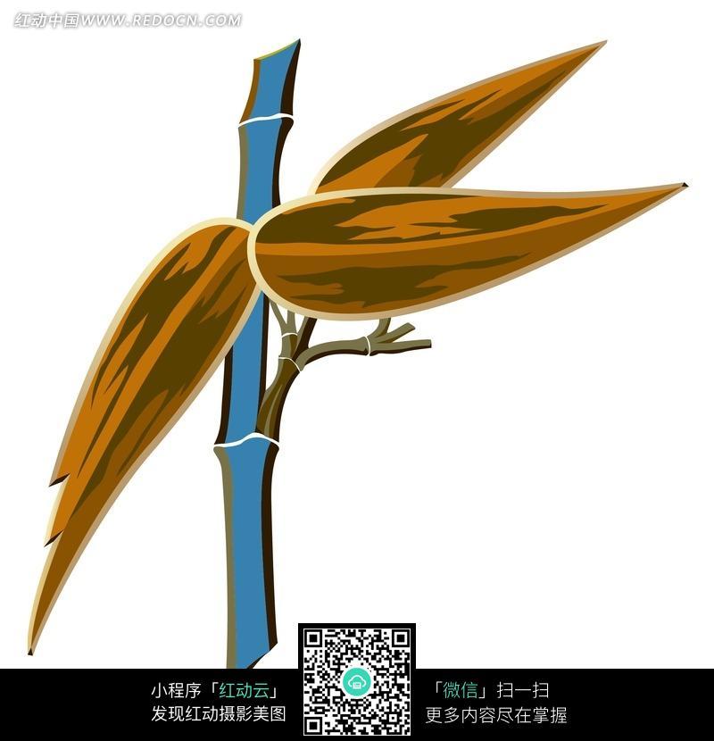 卡通  手绘 绘画 竹叶 黄色 蓝色竹竿  背景素材 底纹