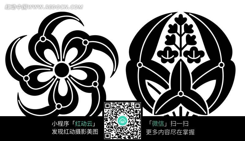 两朵黑白线条花朵花纹
