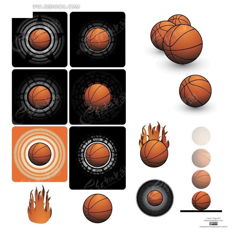 免费素材 矢量素材 花纹边框 花纹花边 > 手绘各种花纹背景的篮球  免