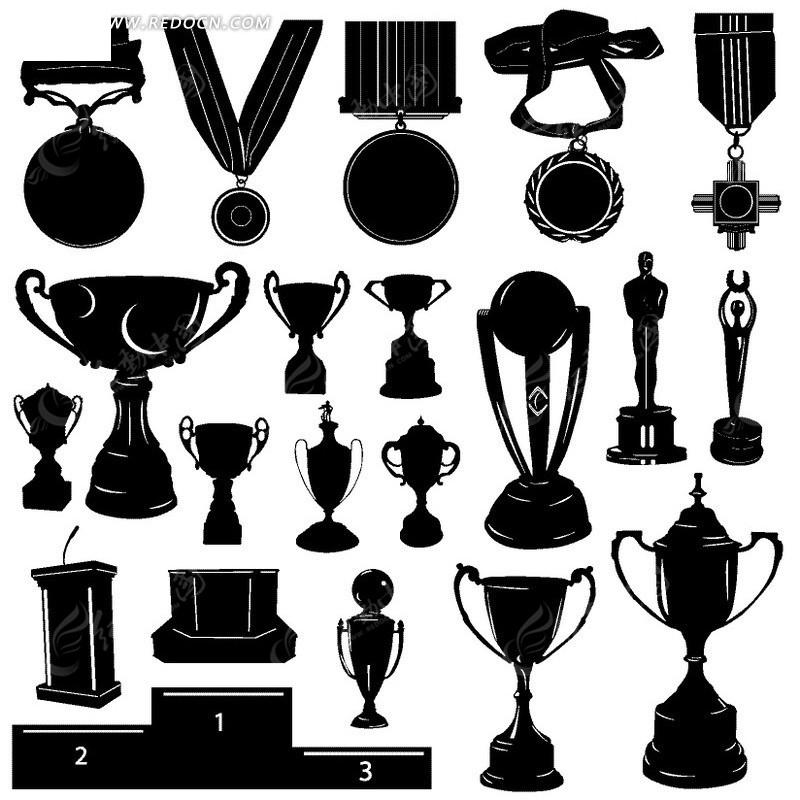 手绘各种奖杯奖牌和讲台