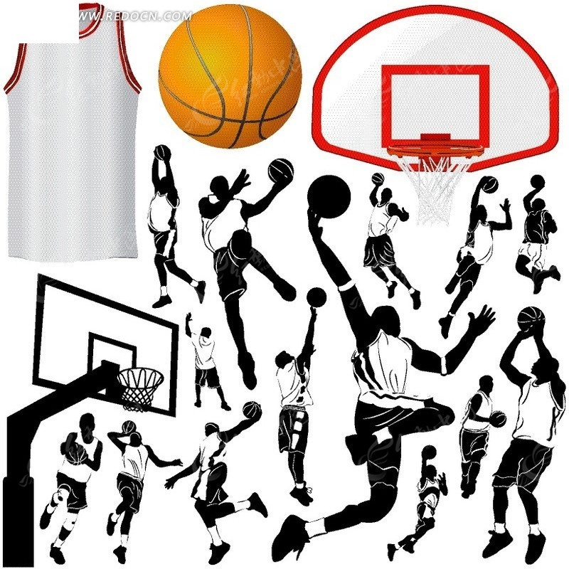手绘各种打篮球动作剪影
