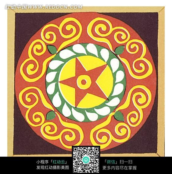 手绘圆形彩色花纹图片