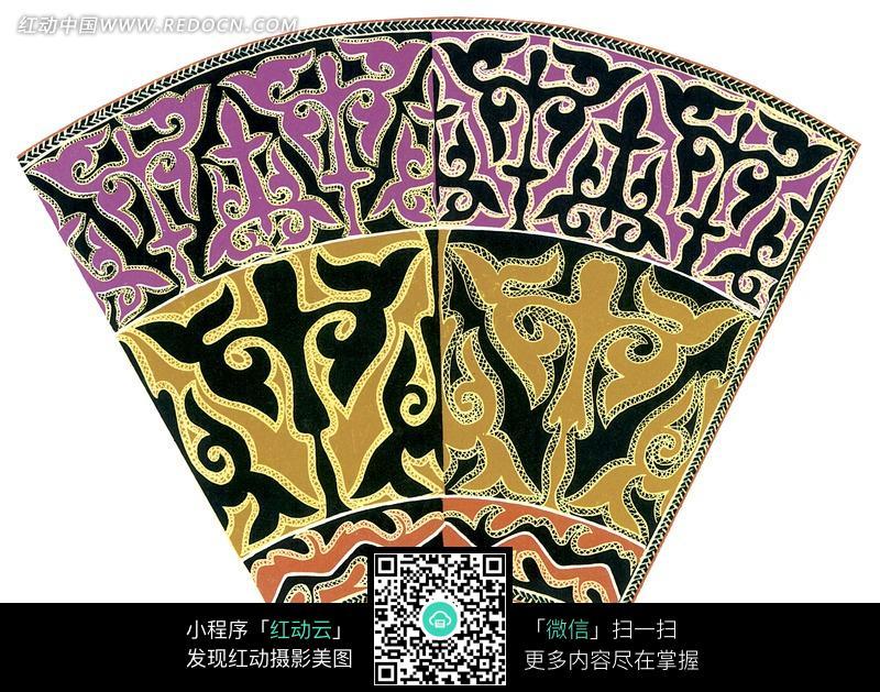 藏式花纹的扇形图片